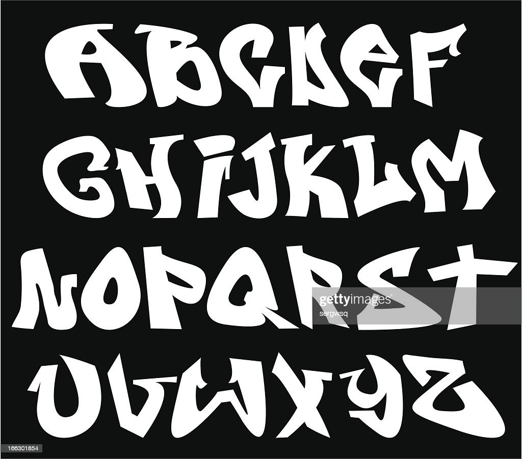 Graffiti style vector alphabet on black background