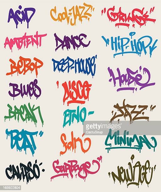 graffiti tags - hip hop stock illustrations