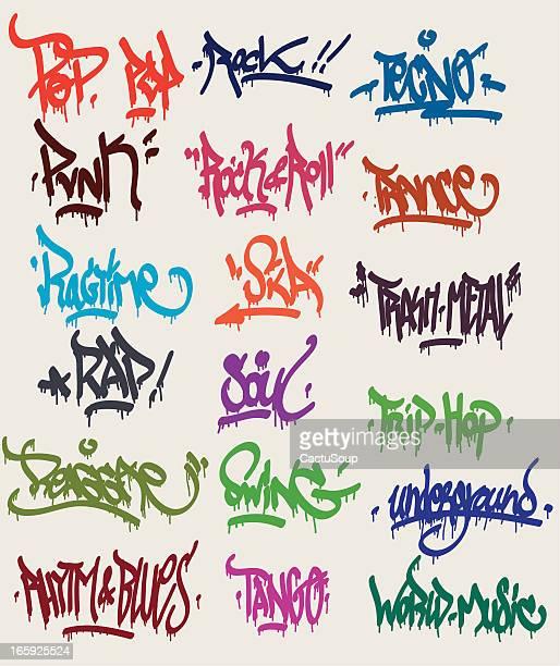 ilustrações de stock, clip art, desenhos animados e ícones de marcas graffitis - hip hop