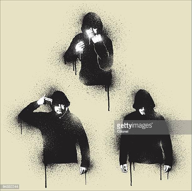graffiti - urban angst - hooded top stock illustrations
