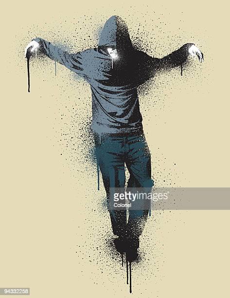 graffiti urban messiah - hooded top stock illustrations