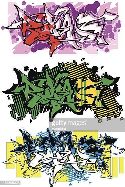 graffiti (vector) - modern rock stock illustrations
