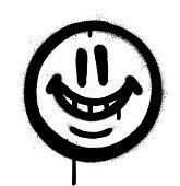 graffiti whimsical smile emojo sprayed in black on white