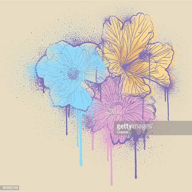 illustrations, cliparts, dessins animés et icônes de grafiti pochoir fleurs - coquelicot