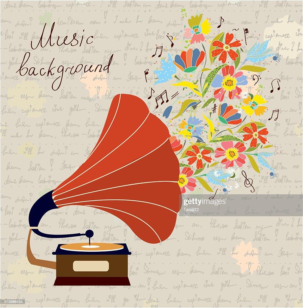 Gramophone and music retro background