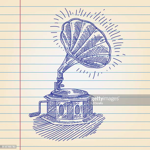 gramophone drawing on lined paper - gramophone stock illustrations, clip art, cartoons, & icons