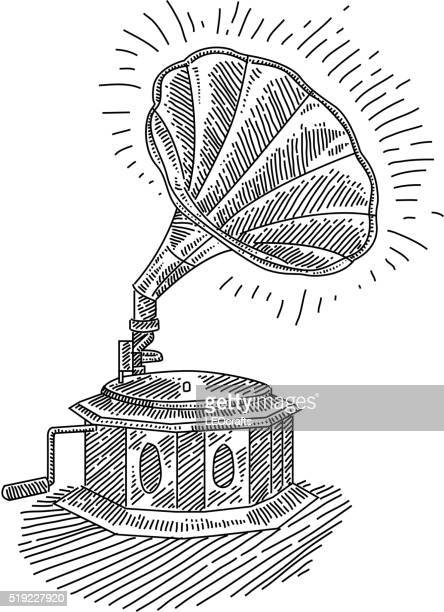 gramophone drawing - gramophone stock illustrations, clip art, cartoons, & icons