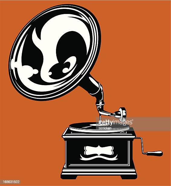 gramophone silhouette - gramophone stock illustrations, clip art, cartoons, & icons