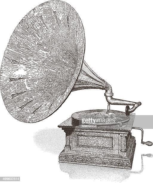 gramophone - music box stock illustrations