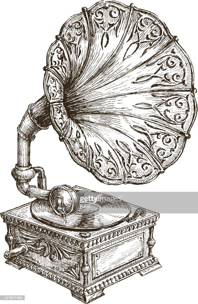 gramophone vector logo design template. music or vinyl record, nostalgia