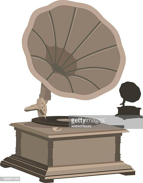 gramophone vector - gramophone stock illustrations, clip art, cartoons, & icons