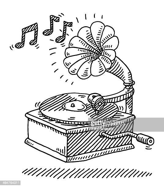 gramophone vintage music drawing - gramophone stock illustrations, clip art, cartoons, & icons
