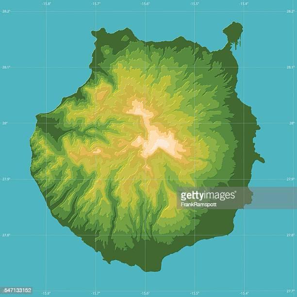 Gran Canaria Topographic Relief Vector Map