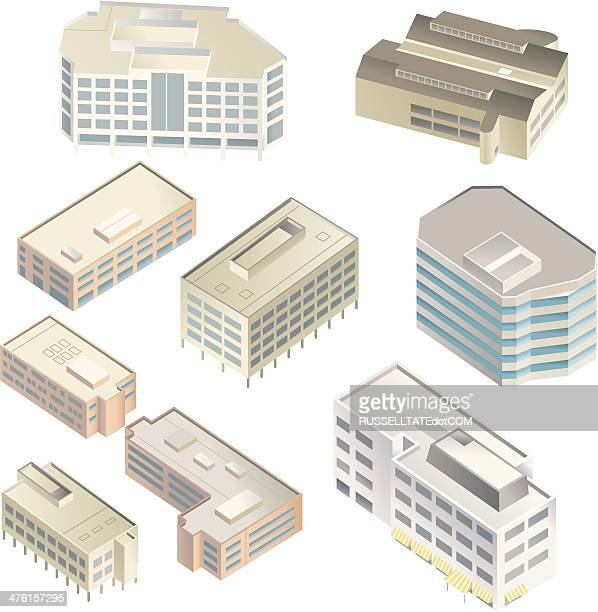 grand buildings - commercial real estate sign stock illustrations
