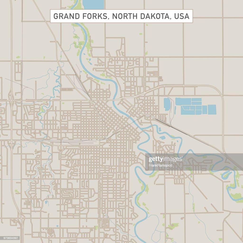 Karte von Grand Forks North Dakota U.S. Stadtstraße : Vektorgrafik