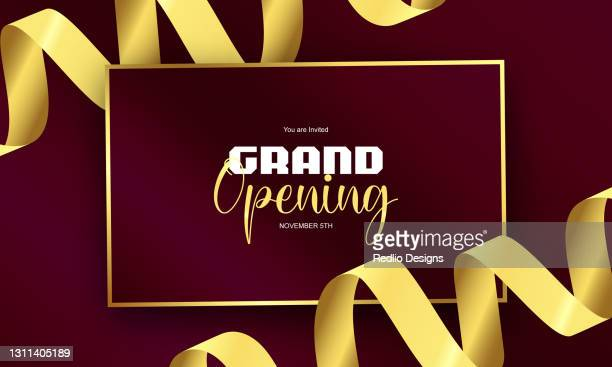 grand opening announcement concept,invite card,grand opening concept background - opening ceremony stock illustrations