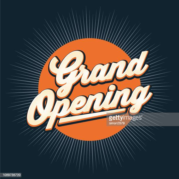 illustrazioni stock, clip art, cartoni animati e icone di tendenza di design banner grand opening con sfondo starburst a colori. - cerimonia d'apertura
