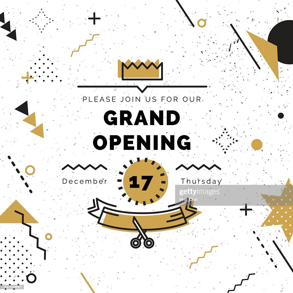 Grand opening banner in black and gold colors.