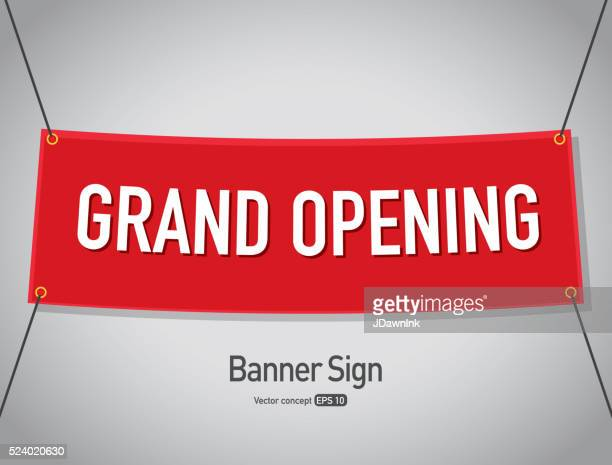 grand opening banner sign text design - opening ceremony stock illustrations