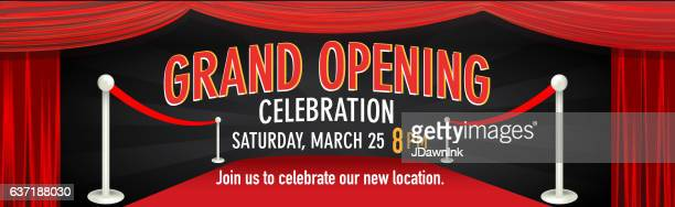 Grand Opening design banner template with curtain