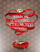 Grand opening elegant card with long red ribbon, scissors on the pillow. Vector illustration