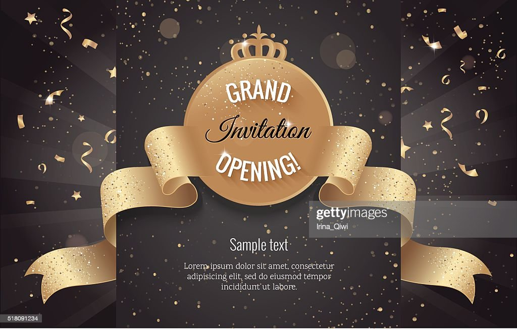 Grand opening horizontal banner. Text with confetti and curving
