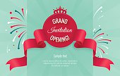 Grand opening horizontal banner with curving ribbon