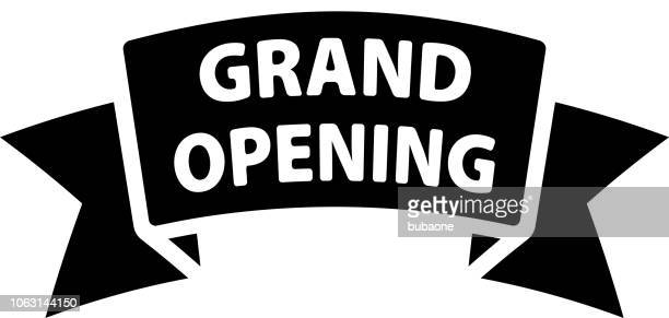 grand opening icon with long shadow - opening ceremony stock illustrations