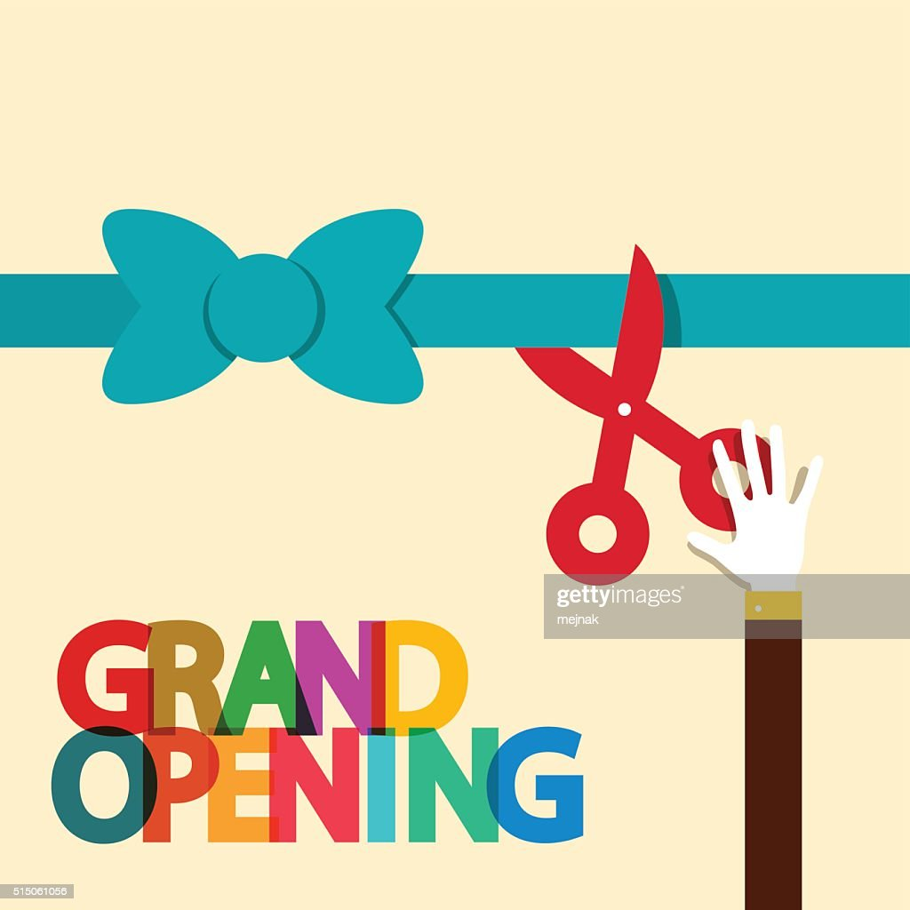 Grand Opening Illustration with Ribbon and Scissors