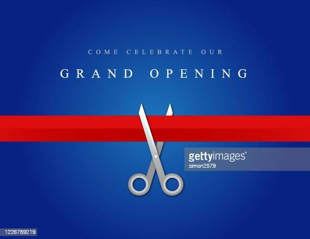 illustrazioni stock, clip art, cartoni animati e icone di tendenza di design dell'invito di inaugurazione - opening event