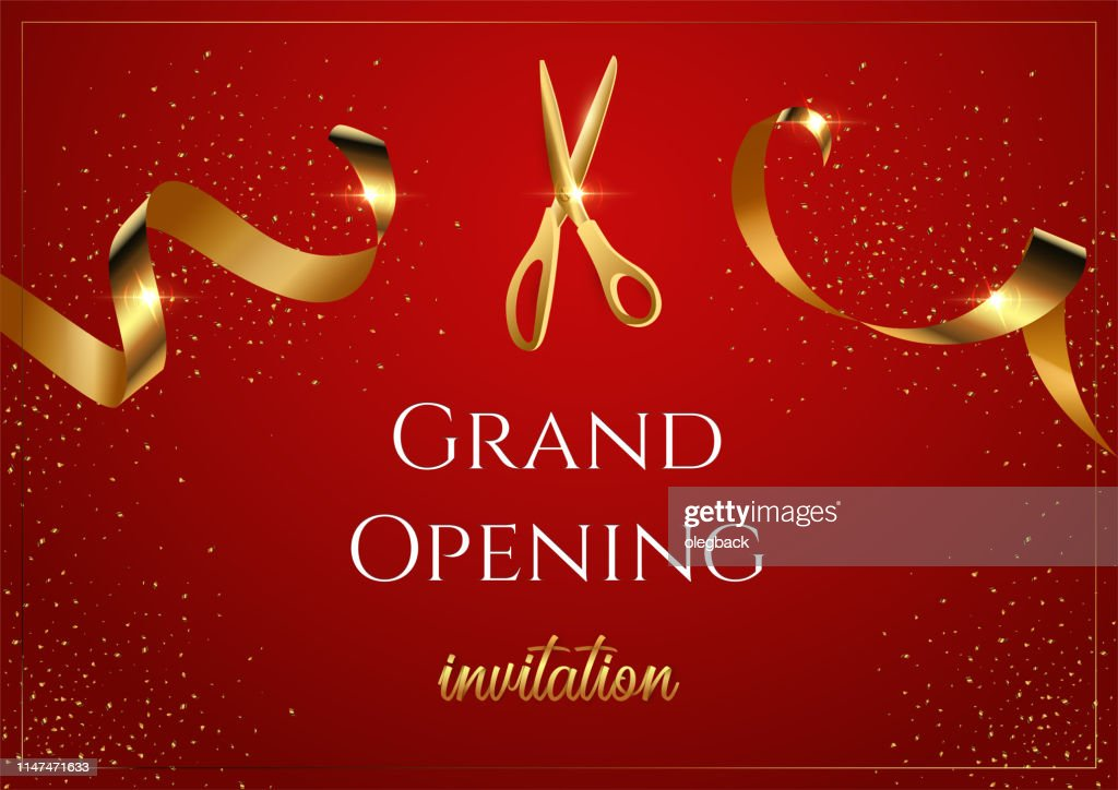 Grand opening invitation red vector banner. Shiny scissors cutting golden ribbon