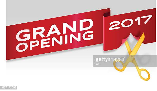 grand opening ribbon cutting banner store opening - opening event stock illustrations