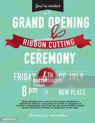 Grand Opening Ribbon Cutting Invitation Design Template ...