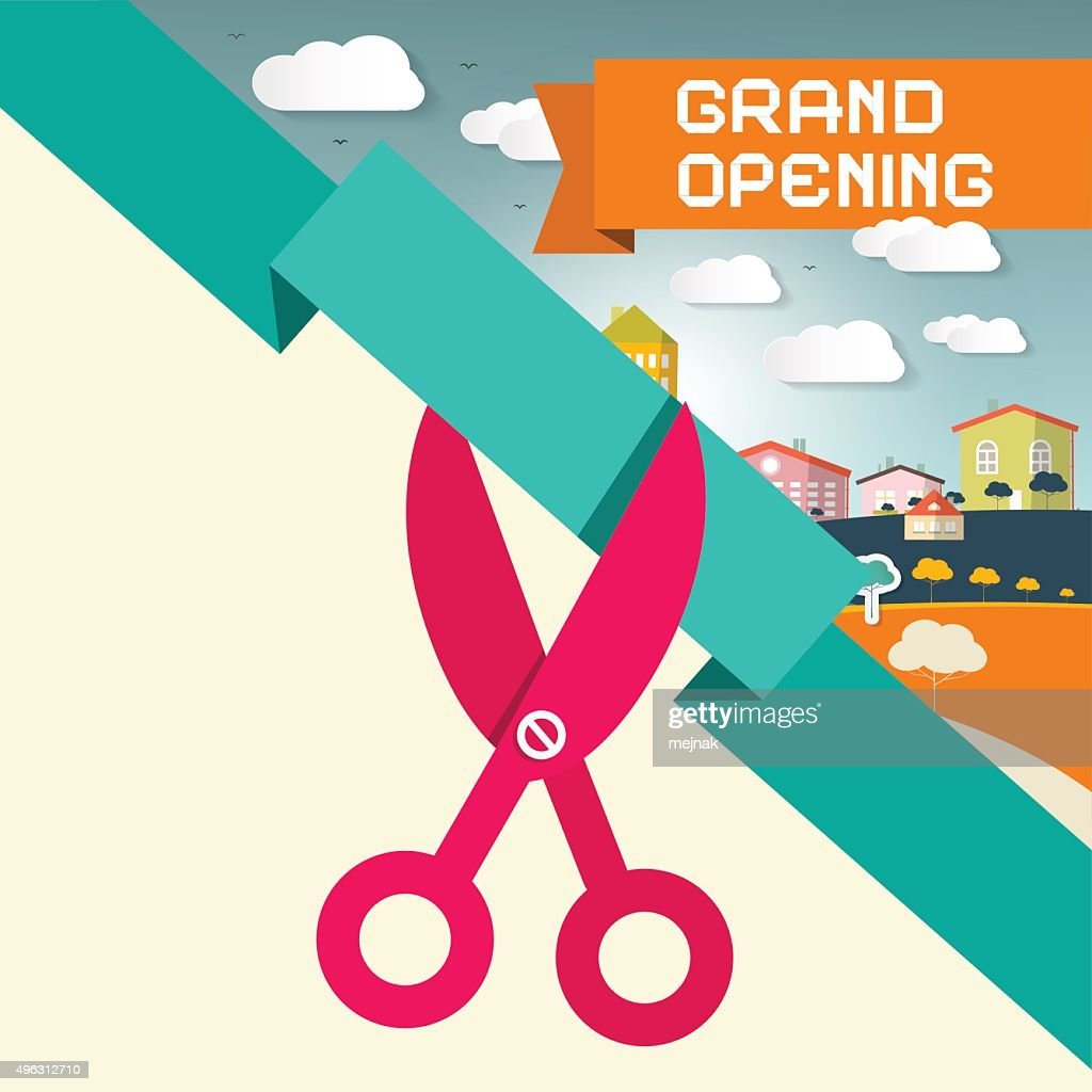 Grand Opening Title with Scissors and Town
