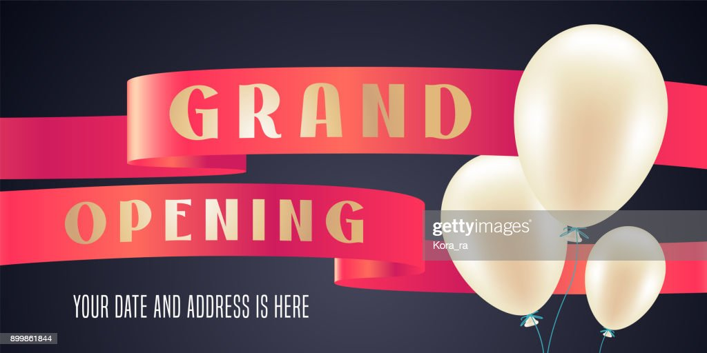 Grand opening vector illustration, background for new store with balloons