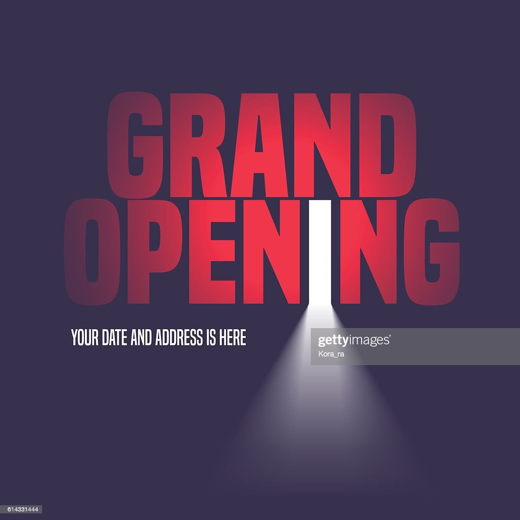 Grand opening vector illustration, background with open door