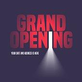 Grand opening vector illustration, background with open door