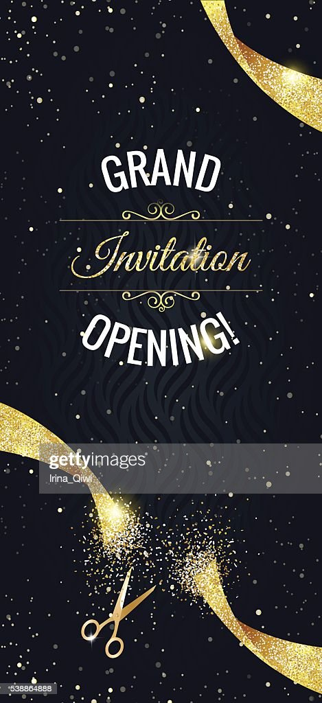 Grand opening vertical banner with  confetti, golden sparkles
