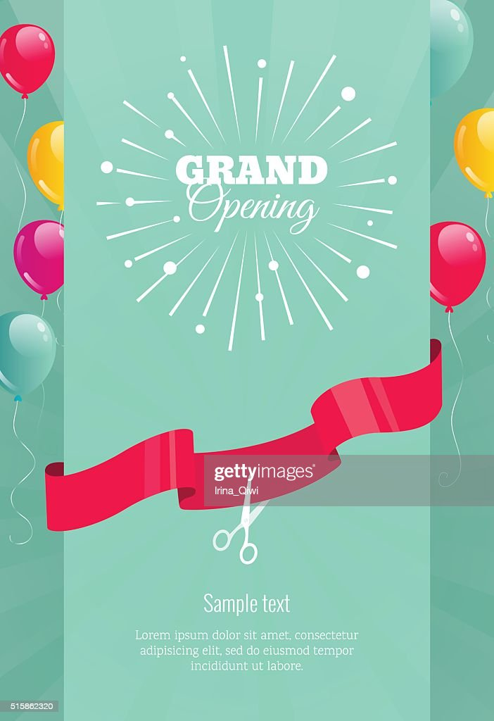 Grand opening vertical banner with  firework, balloons and ribbo