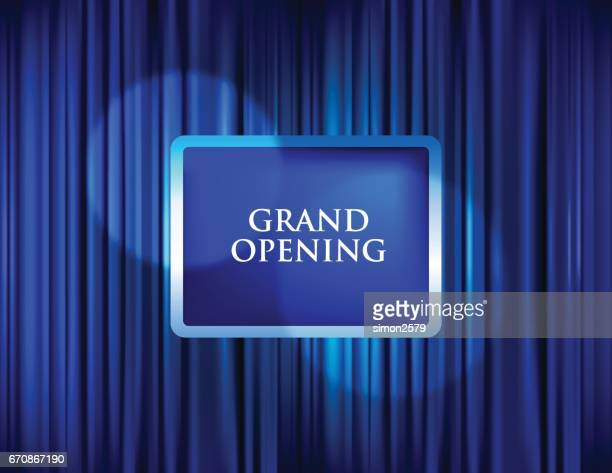 grand opening with blue curtain background - opening ceremony stock illustrations