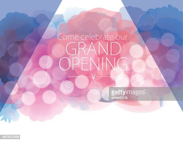 Grand opening with watercolor textured background
