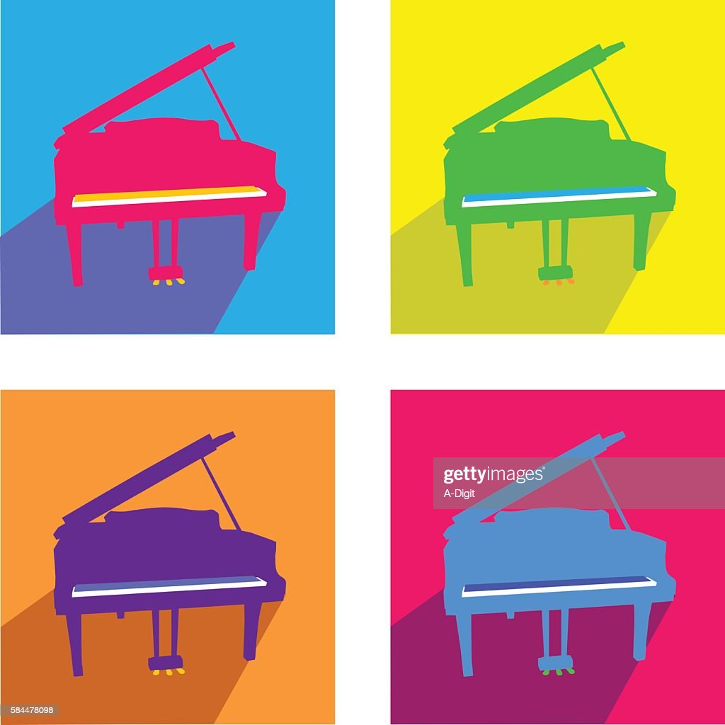 Grand Piano Bright Colors Vector Art