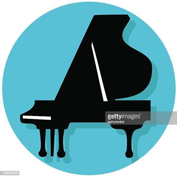 grand piano icon - grand piano stock illustrations