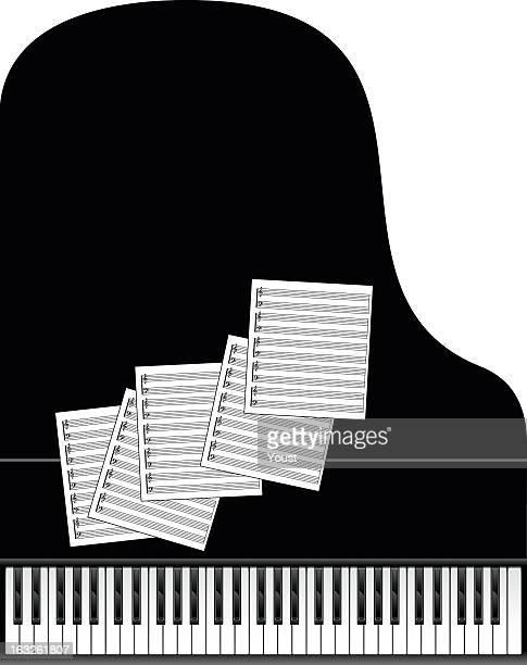 ilustraciones, imágenes clip art, dibujos animados e iconos de stock de grand piano en blanco y negro - tecla de piano