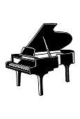 Grand Piano silhouette Vector Clipart