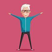 Grandfather and gymnastics. Old man. Cartoon vector illustration