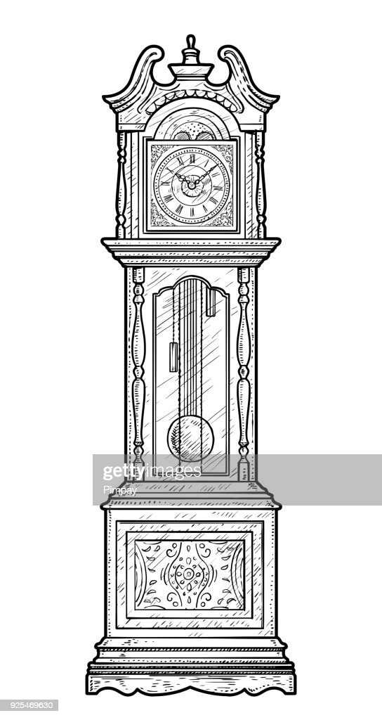 Grandfather clock illustration, drawing, engraving, ink, line art, vector