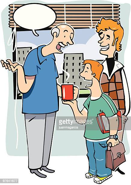Abuelo, Padre e hijo charlar