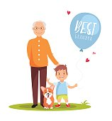 Grandfather, his grandson and dog standing on green lawn with balloon.