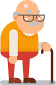 Grandfather Old Man Character Cartoon Flat Design Vector illustration